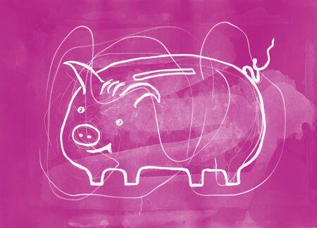 mixed media: Piggy bank. Mixed media artwork. Handmade. Stock Photo