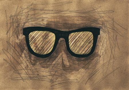 mixed media: Eyeglasses. Mixed media artwork. Handmade. Stock Photo