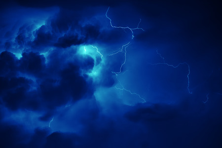 Awesome thunderbolt in dark night sky. Stock Photo