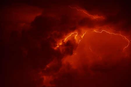 thunderbolt: Awesome thunderbolt in dark night sky. Stock Photo