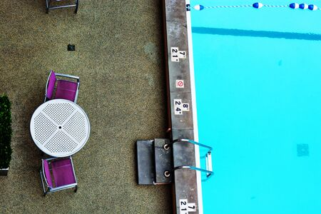 Empty pool. View from top. Stock Photo