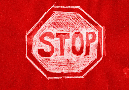 mixed media: Stop Sign. Mixed media artwork in grunge style. Stock Photo