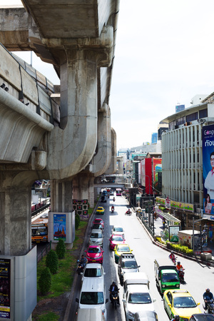 megapolis: BANGKOK, THAILAND - SEPTEMBER 9, 2015: Noisy and colorful life-filled streets of Bangkok.