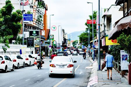 noises: CHIANG MAI, THAILAND - SEPTEMBER 1, 2015 : Colorful streets of Chiang Mai.
