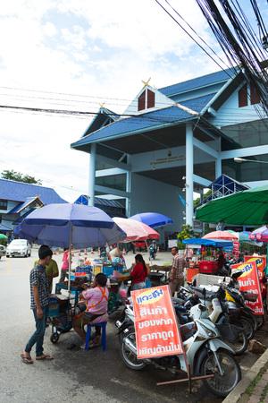 tourists stop: MAE SAI, THAILAND - AUGUST 31, 2015: Tourist stop on Thailand - Myanmar border in Mae Sai, Thailand. Editorial