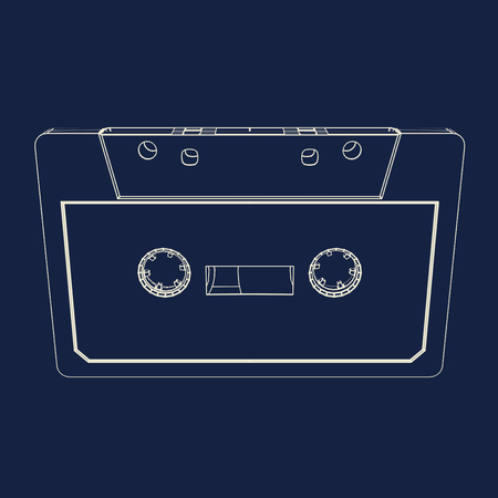 compact cassette: Compact cassette drawing in blueprint style.