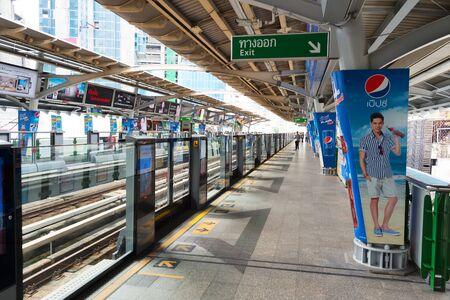 megapolis: BANGKOK, THAILAND - AUGUST 28, 2015: Bangkok Transport System (BTS) station. BTS is a great transportation system in Bangkok.