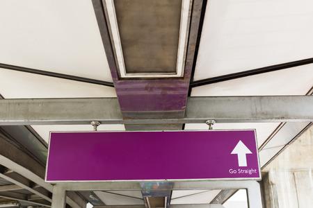 ways to go: Empty sign with arrow - Go Straight.