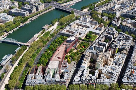 tourist attraction: PARIS, FRANCE - MAY 6, 2016: Beautiful view of Paris from the mhe main tourist attraction of Paris -  Eiffel Tower.