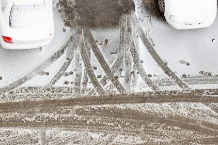 snowbound: Snowbound car in snowfall time.