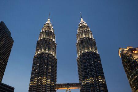 KUALA LUMPUR, MALAYSIA - AUGUST 19, 2016: Beautiful Petronas Towers - main tourist attraction of Kuala Lumpur.