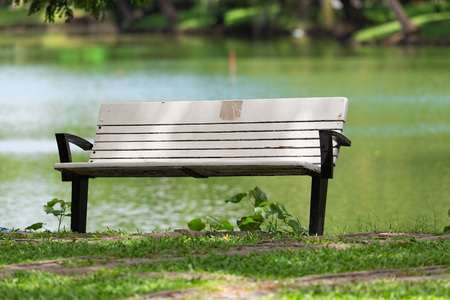 Empty bench in the park. Stock Photo