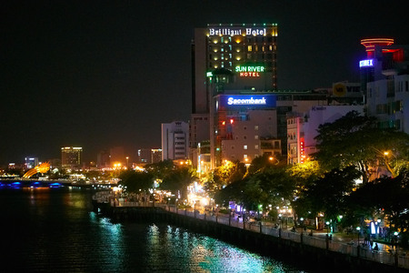 DA NANG, VIETNAM - AUGUST 8, 2017: Beautiful view of the Han River in Da Nang city at night time. Editorial