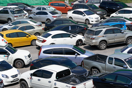 BANGKOK, THAILAND - July 23, 2017: Chaos in the overcrowded parking lot next to Chatuchak market in Bangkok Editorial