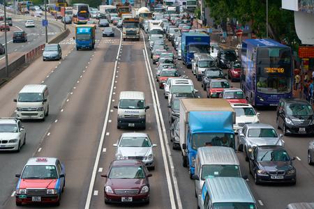 HONG KONG - September 4, 2017: Busy traffic scene in asian metropolis in rush hour. City hustle and bustle.