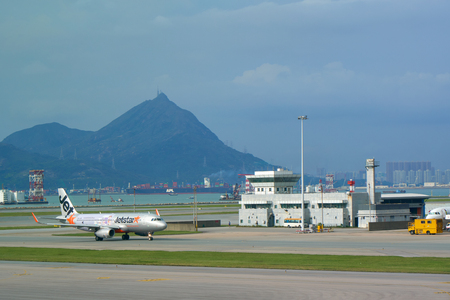 HONG KONG - SEPTEMBER 6, 2017: View of the HK Airport (HKG) - Chek Lap Kok.