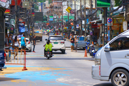 PHUKET, THAILAND - JULY 6, 2018: Infamous Bangla Road at day time. Its know n for noisy and fun nightlife.