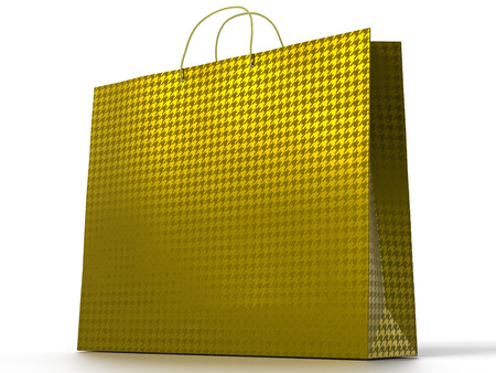 3D illustration of shopping bag isolated on white . Place for text on the empty side.   included. Golden foil.