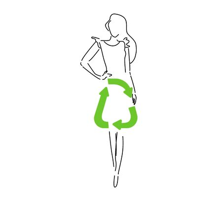 Sustainable fashion. Silhouet woman in outline in dress with sign for recycling. Concept for slow fashion, circular fashion, recycle. Can used in print or poster design,
