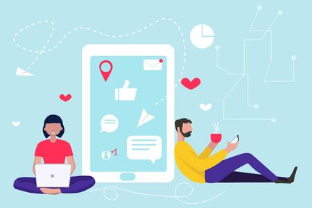 Pretty woman is sitting at her laptop and chatting with man with phone and icon for social media on the background. Dating app and virtual relationship.