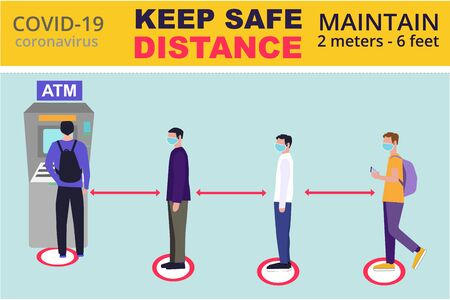 Keep safe distance. Social distancing near ATM, coronavirus covid-19 prevention: maintain a safe distance from others when using ATM, self service machines. Can used for banner, social media, poster