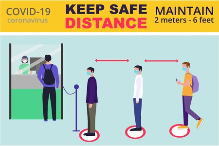 Social distancing and coronavirus covid-19 prevention: maintain a safe distance from others in public offices and banks. Preventive measures. Can used for banner, website design, social media. Vettoriali