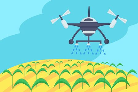 Concept of smart farm. Smart farming tech with irrigation drone. Innovation technology and automatic sprinkler copter. Can used for banner, poster, layout, flyer.