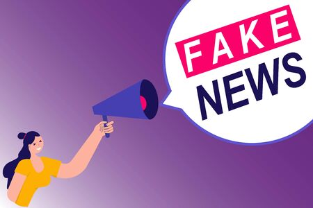 Fake News concept. Male hand holding megaphone with Fake News speech bubble. Loudspeaker. Vector illustration in flat simple style with characters.