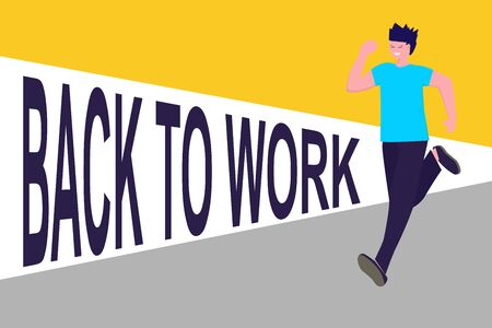 Happy man running to work after quarantine. Man missed job, colleagues meeting and social contacts. Vector illustration in flat. Can used for banner, website design, web page, social media. point Vettoriali
