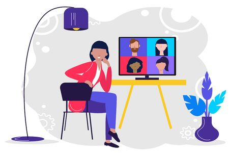 Online meeting via group call. Woman talking to friends, coleagues in video conference at office or home. Concept Freelance, Conference call, remote work, teleworking, quarantine. Vector in flat style