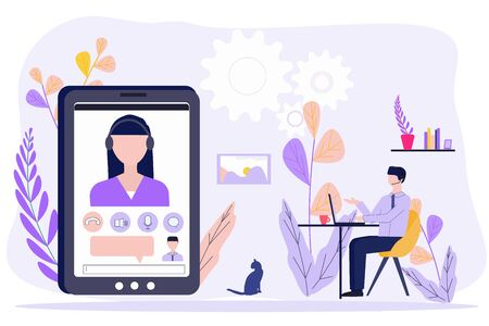 Man sitting at home, chatting to colleague with video calling. Concept Freelance, remote work, teleworking, quarantine, Video conference, meeting. Vector for web banner, social media, landing page