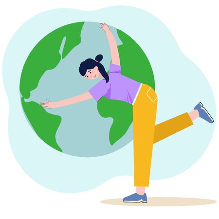 Earth Day. Save the earth. Green day. Eco friendly ecology concept. Cute woman hugs the planet. Vector illustration in flat style. Vector for web banner, social media, landing page, poster.
