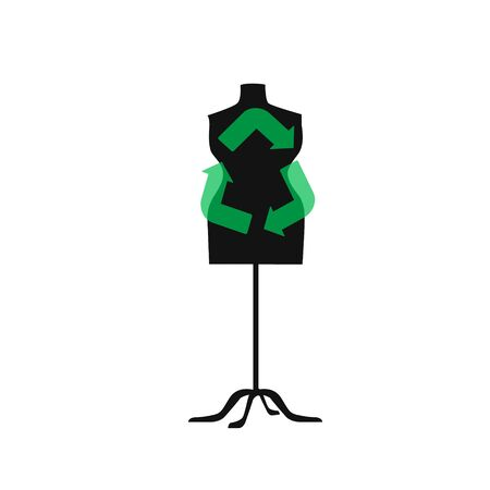 Sustainable fashion. Sign for recycling on a mannequin in flat. Concept for Sustainable fashion, slow fashion, circular fashion, recycle. Can used in print or poster design, websites,