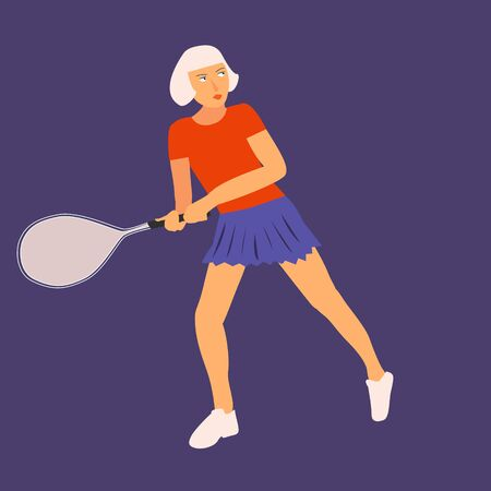 Female tennis player in flat icon design. Tennis player woman aiming to do a good kick isolated illustration on blue background. Vector.