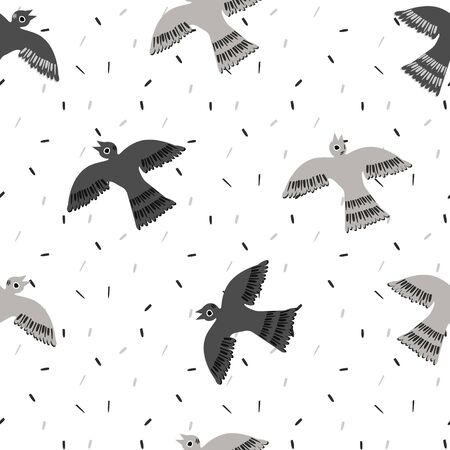 Seamless Pattern with Monochrome silhouettes Birds dove or pigeon in White, Gray and Black on the background Texture with Granules. Simple seamless pattern for background, fabric surface design 向量圖像
