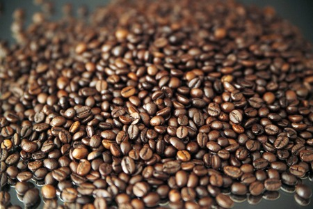 Roasted coffee beans on the table horizontal