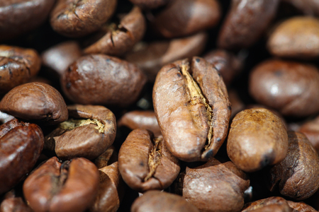A Bunch of Roasted Coffee Beans on The Table. Close-up Stok Fotoğraf - 52661132