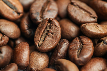 A Bunch of Roasted Coffee Beans on The Table. Close-up Stok Fotoğraf - 52661131