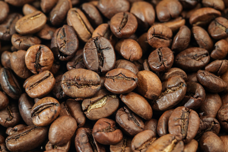 A Bunch of Roasted Coffee Beans on The Table. Close-up Stok Fotoğraf - 52661145