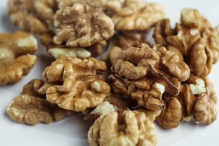 Kernels of a Walnut on The Table. Close-up Stok Fotoğraf