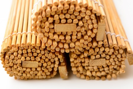 furled: Three bamboo mat, twisted into the form of the manuscript Stock Photo