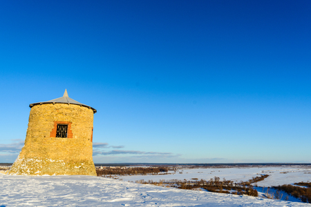 mongols: The medieval fortress of the Bulgars, on the mountain in winter