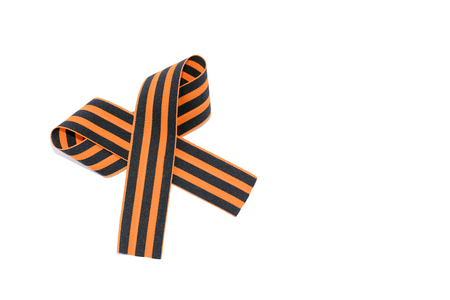 St. Georges ribbon isolated on white background. The symbol of the great victory of May 9 Stock Photo