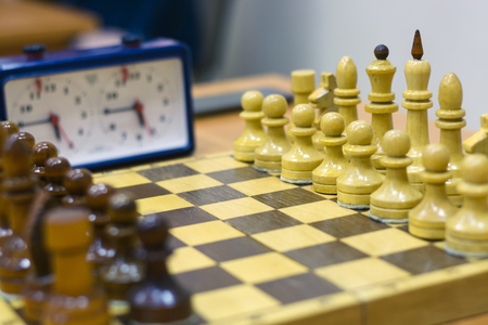 arbitrator: Chess tournament, part of the championship on intelligence, competition, Board game, closeup Stock Photo