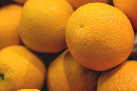 oranges on the shelf of the market