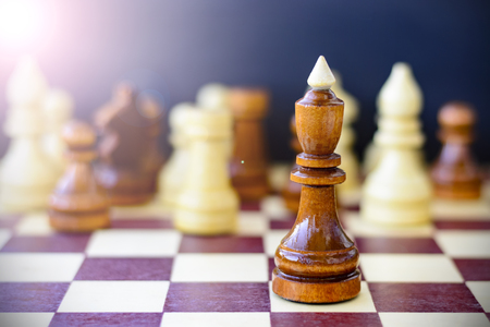 the strongest: Concept of leadership, success, motivation. Chess pieces on the Board.