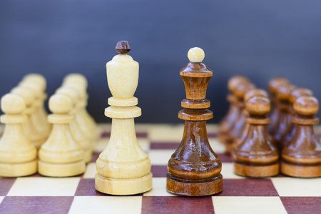 Concept of leadership, success, motivation. Chess pieces on the Board
