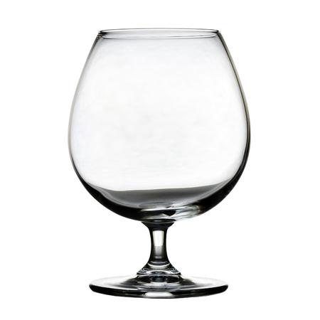 白い背景の上の単一の空ブランデー グラス。分離されました。