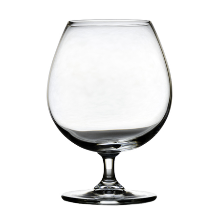 Single empty brandy glass on white background. isolated