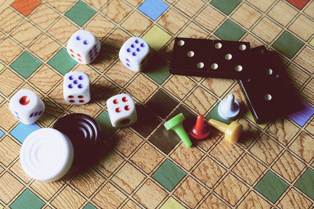 Detail of Board games, dominoes, checkers, checkers and dice.